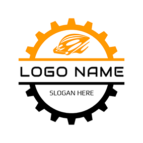 Yellow Wheel Gear and Helmet logo design