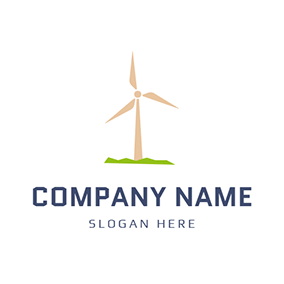 Yellow Windmill and Wind Energy logo design