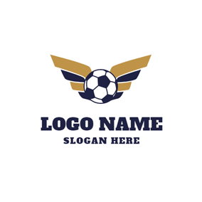 Yellow Wing and Blue Football logo design