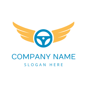Yellow Wing and Blue Steering Wheel logo design