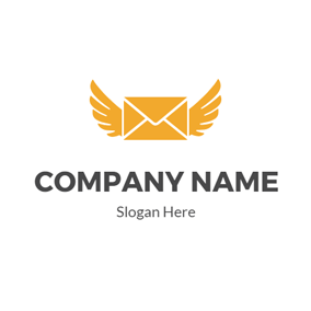 Yellow Wing and Envelope logo design