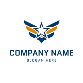 Yellow Wings and Blue Military Star logo design