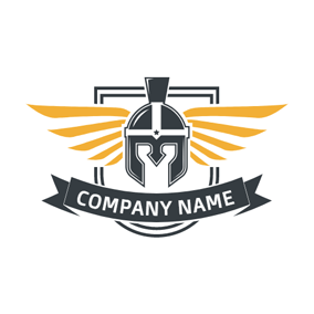 Yellow Wings and Warrior Badge logo design