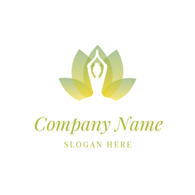 Yoga Lotus and Woman logo design